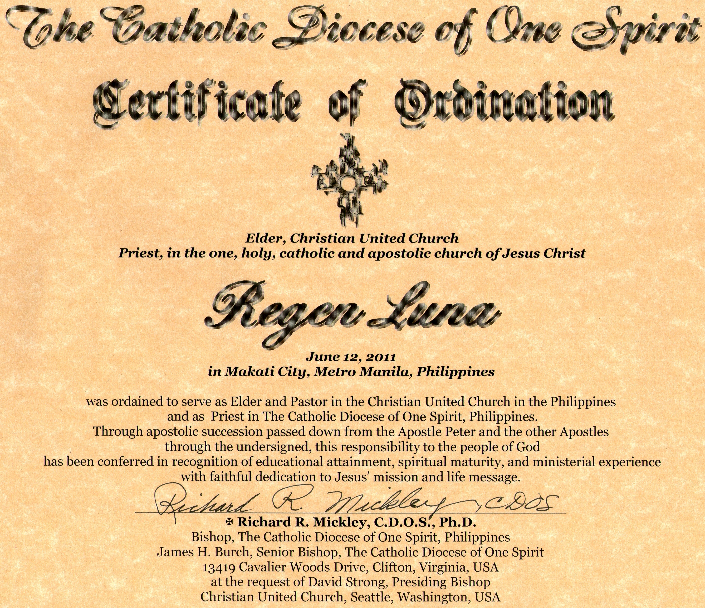 Rev elder regen r lunas certificates of ordination ekklesia elder regen r lunas certificates of ordination ekklesia tou theou 1betcityfo Image collections